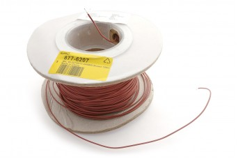 25cm Teflon PTFE Coated Silver Plated Copper Wire (Brown 24AWG)