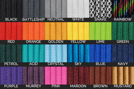 25cm Paracord for DIY Projects - 24 Colours