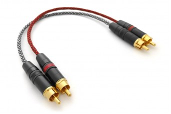 Ready-made OIDIO Pellucid RCA Cable Pair with Rean Connectors - 0.25m
