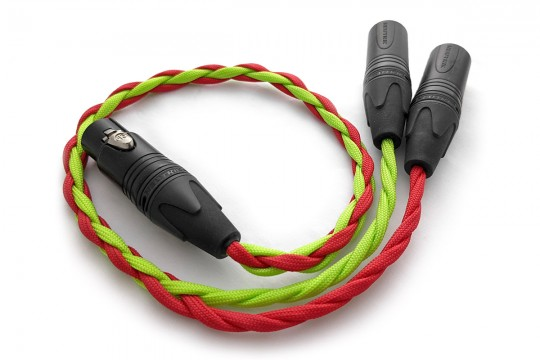 Ready-made OIDIO Mongrel Adapter Cable - 0.5m Female 4-pin XLR to dual 3-pin XLR